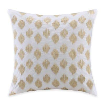 INK+IVY Ankara Ikat Square Throw Pillow in White/Gold