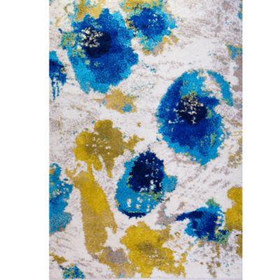 Four Season Abstract Shag Area Rug in Blue