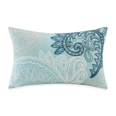 INK+IVY Mira Embroidered Oblong Throw Pillow in Blue