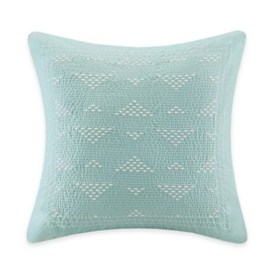 INK+IVY Mira Embroidered Square Throw Pillow in Blue