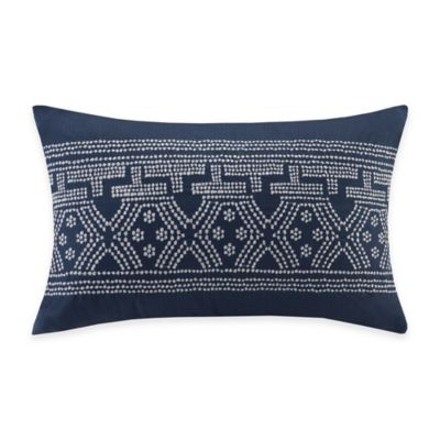 INK+IVY Luna Embroidered Oblong Throw Pillow in Indigo