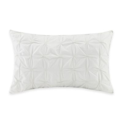 INK+IVY Luna Pintucked Oblong Throw Pillow in White