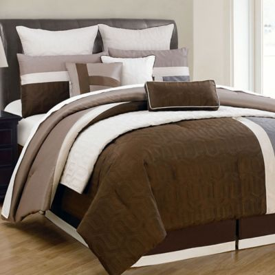 Chic Home Desmond 10-Piece King Comforter in Brown