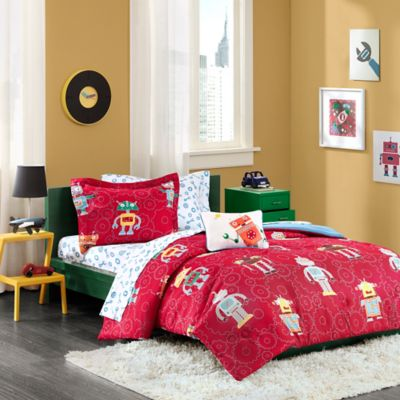 Mi Zone Kids Rockin Robots Twin Comforter Set in Red