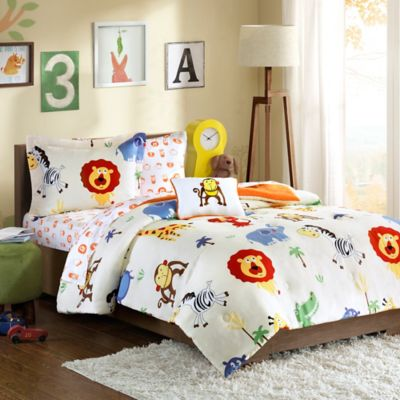 Mi Zone Kids Safari Sam Twin Comforter Set in Orange