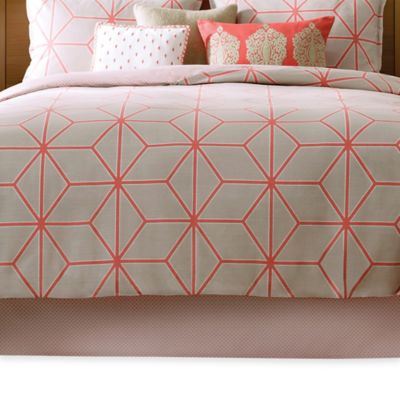 Real Simple® Tara Twin Bed Skirt in Natural/Coral