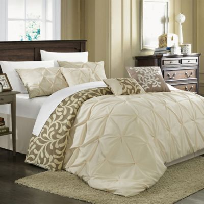 Chic Home Trina 7-Piece Reversible King Comforter Set in Beige
