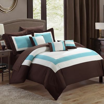 Chic Home Dylan 10-Piece Queen Comforter Set in Brown
