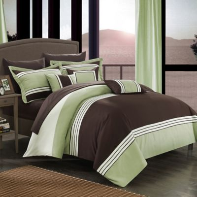 Chic Home Karsa 10-Piece Queen Comforter Set in Green