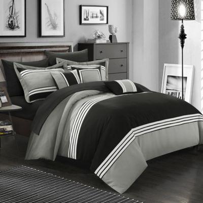 Chic Home Karsa 10-Piece King Comforter Set in Black