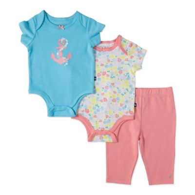 Nautica Kids® Size 3M 3-Piece Flowers/Anchors Bodysuit and Pant Set in Coral