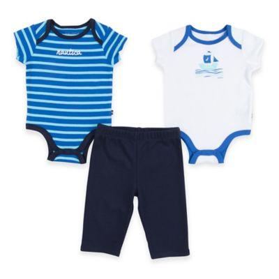 Nautica® Size 3M 3-Piece Stripe/Sailboat Bodysuit and Pant Set in Blue