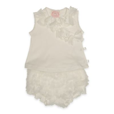 Baby Biscotti Size 3M 2-Piece Sleeveless Kimono Top and Ruffle Bloomer Set in Ivory