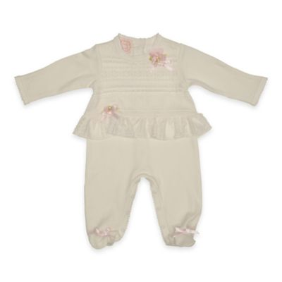 Baby Biscotti Size 3M Lace Front Footie in Ivory
