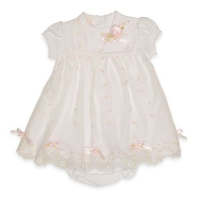 Baby Biscotti Size 3M 2-Piece Tiny Petals Embroidered Dress and Diaper Cover Set in White