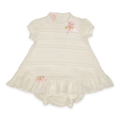 Baby Biscotti Size 3M 2-Piece Puff Sleeve Lace Front Dress and Diaper Cover Set in Ivory