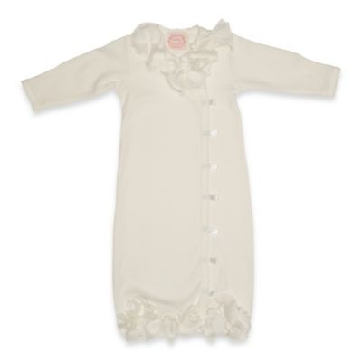 Baby Biscotti Newborn Floral Accent Gown in Ivory