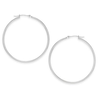 14K White Gold 40mm Polished Tube Hoop Earrings
