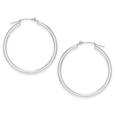 14K White Gold 30mm Polished Hoop Earrings
