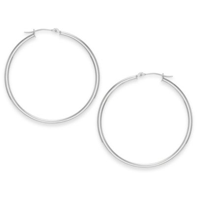 14K White Gold 40mm Polished Hoop Earrings