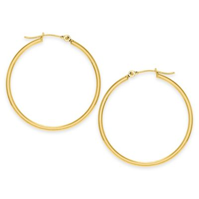14K Yellow Gold 30mm Polished Hoop Earrings