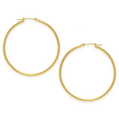 14K Yellow Gold 40mm Polished Hoop Earrings