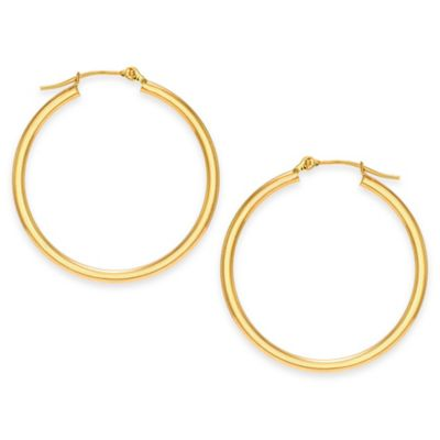 14K Yellow Gold 30mm Polished Tube Hoop Earrings