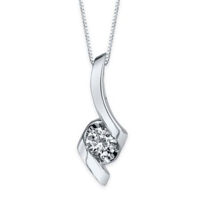 Sirena® Collection 14K White Gold .08 Diamond 18-Inch Chain Ribbon Pendant Necklace