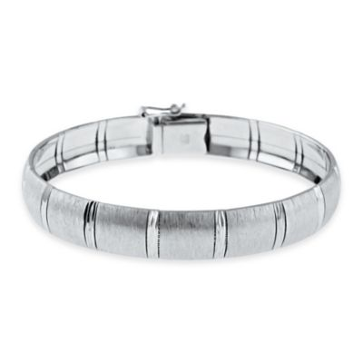 Sterling Silver 7.5-Inch Diamond-Cut Accent Satin Finish Ladies' Bangle Bracelet