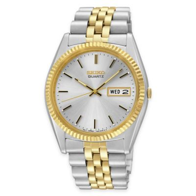 Seiko Men's 40mm Watch in Two-Tone Stainless Steel with Fluted Bezel
