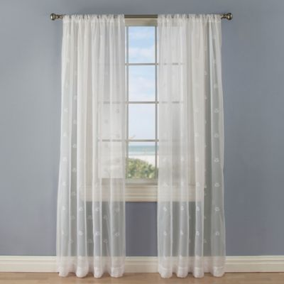 Crossed Anchors 108-Inch Rod Pocket Sheer Window Curtain Panel in White