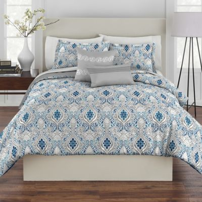 Rhapsody Dasha 4-Piece Reversible Twin Comforter Set in Blue