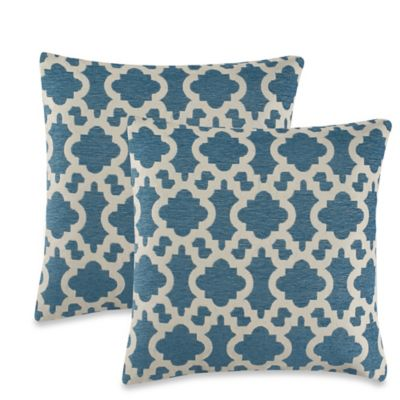 Eastern Fret Throw Pillow in Teal (Set of 2)