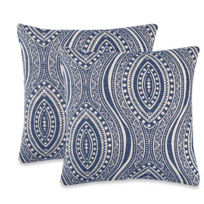Moroccan Tile Throw Pillow in Indigo (Set of 2)