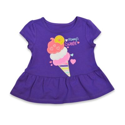 "Kidtopia Size 3M Cap Sleeve ""Mommy's Sweetie"" Ice Cream Cone Peplum Top in Purple"