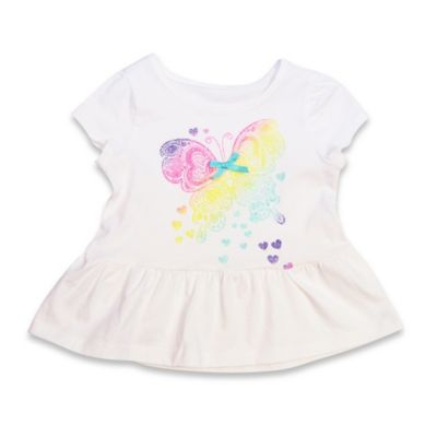 Kidtopia Size 6M Cap Sleeve Butterfly Glitter Print Peplum Top in White
