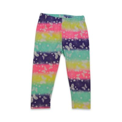 Kidtopia Size 3M Butterfly Rainbow Print Legging in Multicolor