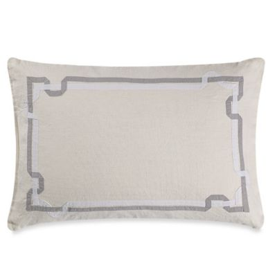 Vera Wang™ Fretwork Linen Breakfast Throw Pillow in Light Cream