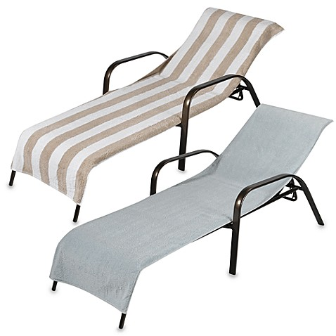 Terry chaise lounge towels 100 cotton bed bath beyond for Beach towel chaise lounge cover