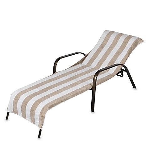 Terry chaise lounge striped towel bed bath beyond for Bathroom chaise lounge