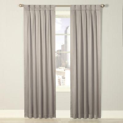 Splendor 63-Inch Grommet Glide Pinch Pleat Lined Window Curtain Panel in Grey