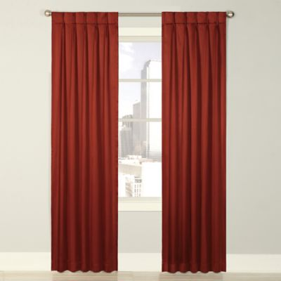Splendor 63-Inch Grommet Glide Pinch Pleat Lined Window Curtain Panel in Russet