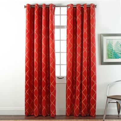 Envision Embroidered 84-Inch Room-Darkening Grommet Top Window Curtain Panel Pair in Cobalt