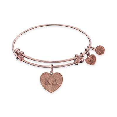 Angelica Collection Rose Goldtone Kappa Delta Sorority Charm Bangle Bracelet