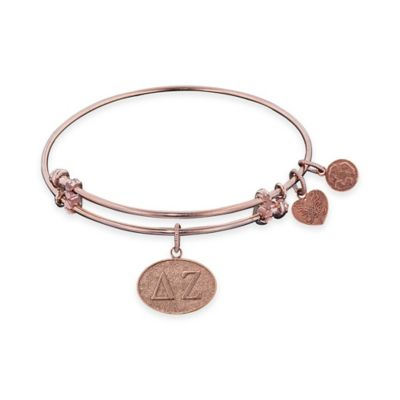 Angelica Collection Rose Goldtone Delta Zeta Sorority Charm Bangle Bracelet
