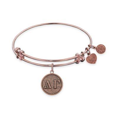 Angelica Collection Rose Goldtone Delta Gamma Sorority Charm Bangle Bracelet
