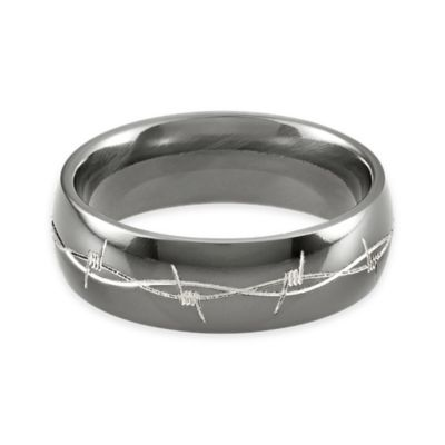 Lashbrook® Black Titanium Engraved Barbed Wire Size 12 Men's Domed Ring