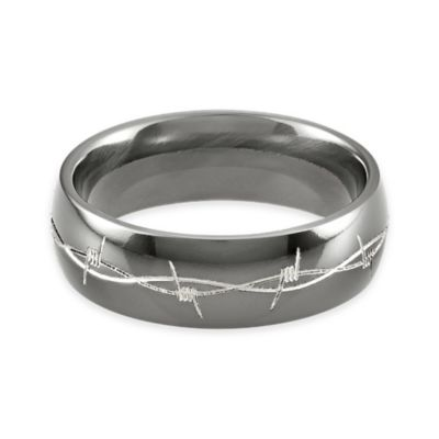 Lashbrook® Black Titanium Engraved Barbed Wire Size 7 Ladies' Domed Ring