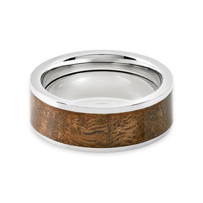 Lashbrook® Titanium Canxan Wood Inlay Size 9.5 Men's Ring