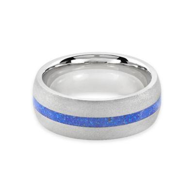 Lashbrook® Cobalt and Lapis Inlay Size 9.5 Men's Sandblast Finished Ring